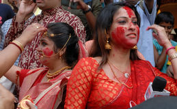 Bengali Women. Durga Puja Festival, the 5-day long celebration is celebrated all over the world by all Bengali speaking people from India during the Month of Royalty Free Stock Photography