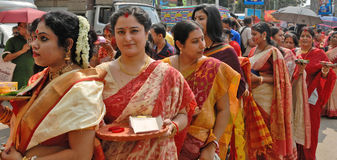Bengali Women. Durga Puja Festival, the 5-day long celebration is celebrated all over the world by all Bengali speaking people from India during the Month of Stock Image