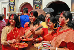 Bengali Women. Durga Puja Festival, the 5-day long celebration is celebrated all over the world by all Bengali speaking people from India during the Month of Royalty Free Stock Images