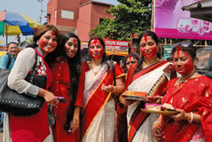 Bengali Women. Durga Puja Festival, the 5-day long celebration is celebrated all over the world by all Bengali speaking people from India during the Month of Royalty Free Stock Image