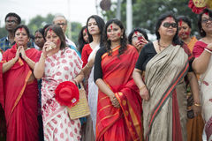 Bengali women watching immersion of Goddess Durga Stock Photography
