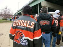 Bengals Fans on Gameday. CINCINNATI - JAN. 2013: Bengals fans line up on gameday before a playoff game as they enter Paul Brown Stadium Royalty Free Stock Image