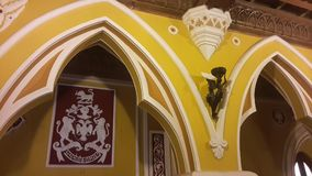 Artwork at Banglaore Palace, Bengaluru, India. BENGALURU, INDIA - FEBRUARY 20, 2017: Interior decoration of famous Bangalore Palace. It was private residence of Royalty Free Stock Photography