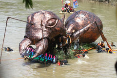 Bengawan Solo Festival Boat Parade Stock Images