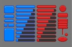 Beni del gioco, GUI di arte del pixel illustrazione di stock