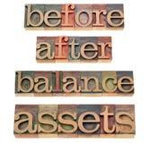 Beni e concetto dell'equilibrio Immagini Stock