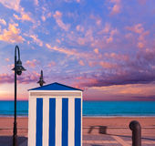 Benicasim in Castellon Benicassim beach stripes at Mediterranean Stock Photography