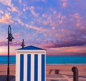 Benicasim nelle bande della spiaggia di Castellon Benicassim al Mediterraneo Fotografia Stock
