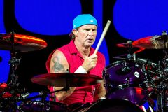 Chad Smith, drummer of Red Hot Chili Peppers music band, performs in concert at FIB Festival. BENICASSIM, SPAIN - JUL 15: Chad Smith, drummer of Red Hot Chili Stock Photos