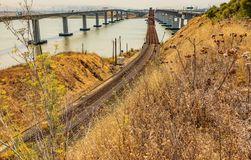 Benicia Martinez car and train bridges in California royalty free stock photography