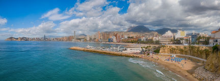 Benidorm,西班牙全景 免版税库存图片