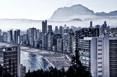 Benidorm Aerial View in the Morning Royalty Free Stock Photos