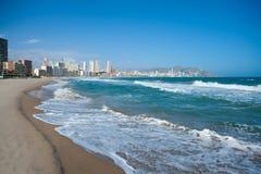 Benidorm Alicante beach buildings and Mediterranean Stock Images