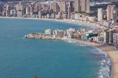 Benidorm, Alicante, España, playas Levante y Poniente, antiguo del pueblo fotografía de archivo