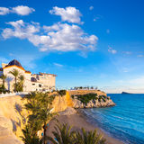 Benidorm Alicante het strand van playa del Mal Pas Stock Afbeelding
