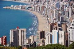 Benidorm Alicante, Spanien, playas Levante y Poniente royaltyfri foto