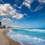Benidorm Alicante strandbyggnader och medelhavs- Arkivbilder