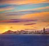 Benidorm Alicante sunset playa de Poniente beach Royalty Free Stock Image
