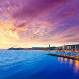 Benidorm Alicante sunset playa de Poniente beach Stock Images