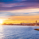 Benidorm Alicante sunset playa de Poniente beach Stock Photography