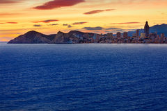 Benidorm Alicante sunset playa de Poniente beach Stock Photos
