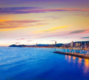 Benidorm Alicante sunset playa de Poniente beach Stock Photo