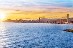 Benidorm Alicante sunset playa de Poniente beach Stock Image