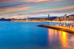 Benidorm Alicante sunset playa de Poniente beach Royalty Free Stock Photo