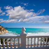 Benidorm balcon del Mediterraneo sea from white balustrade Royalty Free Stock Photography