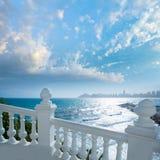Benidorm balcon del Mediterraneo sea from white balustrade. Benidorm balcon del Mediterraneo Mediterranean sea white balustrade in Alicante Spain royalty free stock image