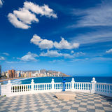 Benidorm balcon del Mediterraneo sea from white balustrade Royalty Free Stock Image