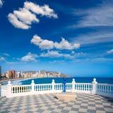Benidorm balcon del Mediterraneo sea from white balustrade Royalty Free Stock Image