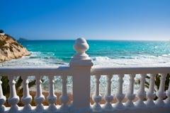 Benidorm balcon del Mediterraneo sea from white balustrade. Benidorm balcon del Mediterraneo Mediterranean sea white balustrade in Alicante Spain stock photos
