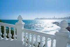 Benidorm balcon del Mediterraneo sea from white balustrade Royalty Free Stock Photos