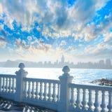 Benidorm balcon del Mediterraneo sea from white balustrade Stock Images