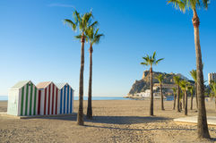 Benidorm beach. On one of its many sunny mornings Stock Images