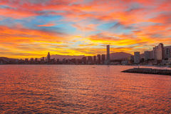 Benidorm city orangy red twilight scenery. Spain Royalty Free Stock Photos