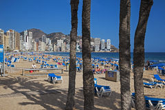 Benidorm, Costa Blanca, Spain - APRIL 2014: Playa de Levante, Be Stock Images