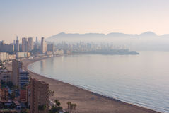 Benidorm covered with fog. Royalty Free Stock Photo