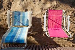 Benidorm hammocks beach chairs detail aerial Royalty Free Stock Photos