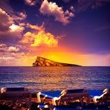 Benidorm island in Mediterranean Alicante Stock Images