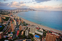 Benidorm landscape. View of Playa de Levante in Benidorm from  the top of the tallest hotel in Europe Stock Photo