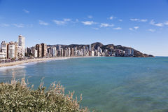 Benidorm panorama. A view of one of the Benidorm beaches with its famous skyline Stock Photography