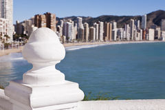 Benidorm panorama from a balcony. A view of Benidorm with a selective focus Stock Image