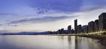Benidorm panorama at sunset Royalty Free Stock Photography