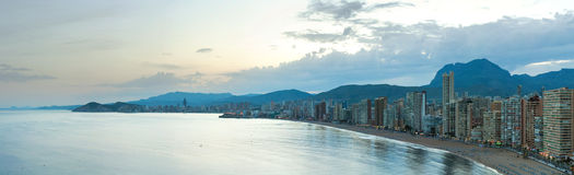 Benidorm panorama at sunset Stock Photography