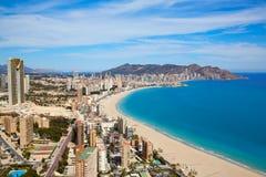 Benidorm plaży powietrzna linia horyzontu w Alicante Obraz Royalty Free