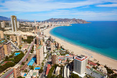 Benidorm plaży powietrzna linia horyzontu w Alicante Zdjęcia Stock