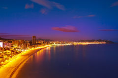 Benidorm Poniente beach sunset Alicante Spain Stock Photography