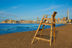 Benidorm Poniente beach watchtower seat Alicante Royalty Free Stock Photography